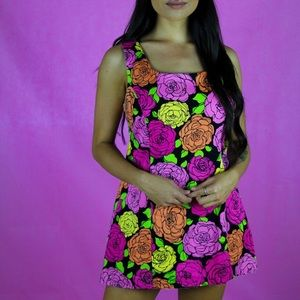 Vintage neon rose mini dress